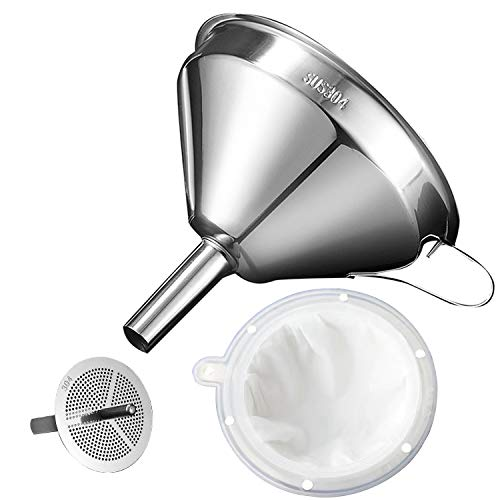 Kitchen Funnel for Filling Bottles, Kitchen Gadgets Cooking Oil Funnel with Strainer and 200 Mesh Filter, Tea Grease Juice Food Strainer, 18/8 Stainless Steel Funnel (5 inch Mouth, 0.63 inch Stem)