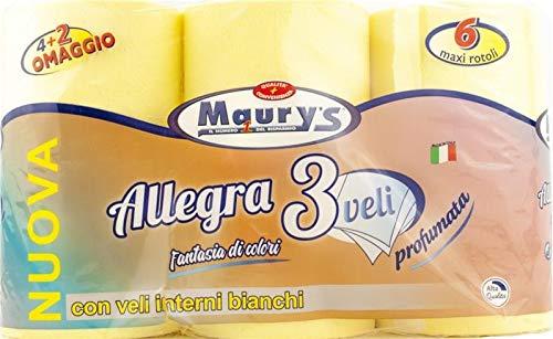 MAURY'S Carta IGIENICA 6 Maxi Rotoli 3 VELI Gialla Colorata PROFUMATA