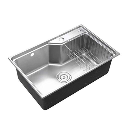 XJJZS Fregadero - Acero Inoxidable de Montaje Superior Drop-In Solo Vaso del Fregadero de Cocina W/Grifo del Agujero de Drenaje del tamiz
