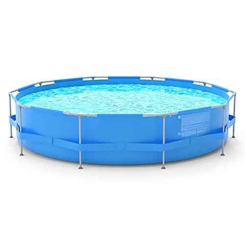 Sekey 3,6 m Piscina de suelo, piscina de jardín de verano redonda, piscina con estructura de metal Ø 360 x 76 cm - Azul