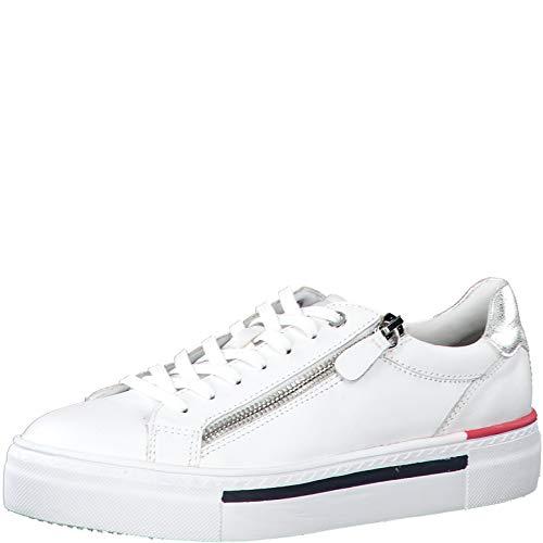 Tamaris Damen Schnürhalbschuhe 23312-24, Frauen sportlicher Schnürer, Halbschuh schnürschuh strassenschuh Sneaker,White Comb,39 EU / 5.5 UK