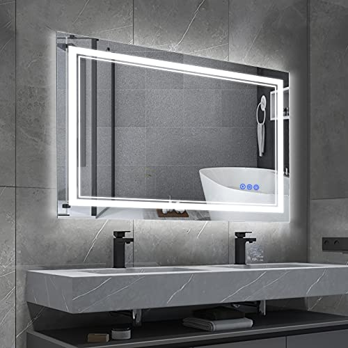 BBE 900 x 700 mm LED baño espejo de pared anti-vaho maquillaje espejo con luz regulable y botón táctil (horizontal/vertical) (36 x 28 pulgadas)