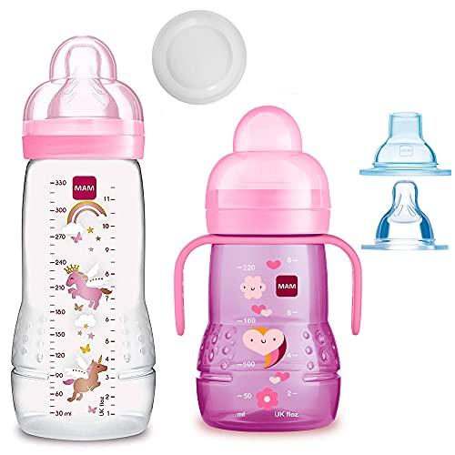 MAM Set intelligent pour filles à partir de 4 mois // biberon Baby Bottle Easy Active 330 ml avec tétine taille 2 & tétine MAM Trainer taille 4 anti-gouttes & bec souple
