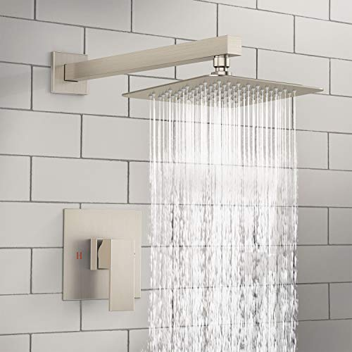 SunCleanse Shower Faucet Set With Valve, Shower Faucets Sets Complete Included Rainfall Shower Head and Extra Long Shower Arm, Brushed Nickel