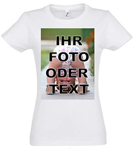 Damen T-Shirt Bedrucken mit eigenem Bild oder Text, Tshirt Designer, T-Shirt selbst gestalten, T-Shirt Druck. (Damen Weiss, M)
