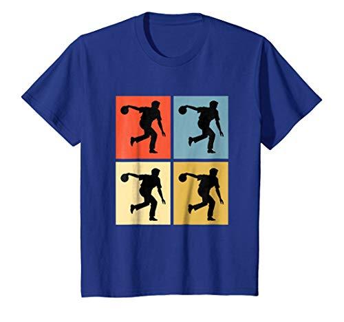 Kids Bowling shirt Colorful Retro 6 Royal Blue