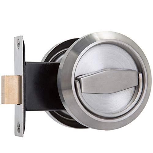 Manillas para puertas Una cara de acero manejar elementos maneta interior de la puerta Lock Pomo Puerta (Color : Silver)