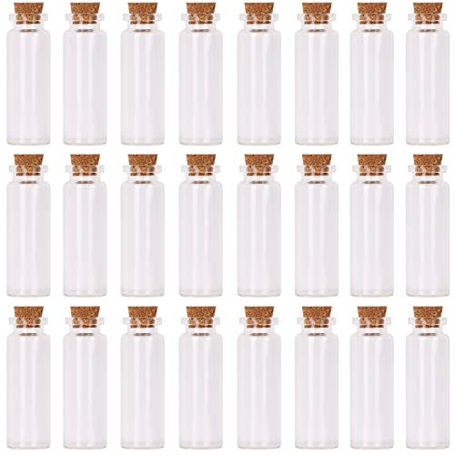 MaxMau 24 Sets 15ml Small Mini Glass Bottles with Cork Stoppers Tiny Vials for Wedding Favors Art Crafts DIY Decoration