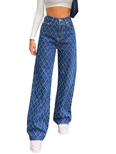 Damen Y2k Mode Loose Straight Jeans...