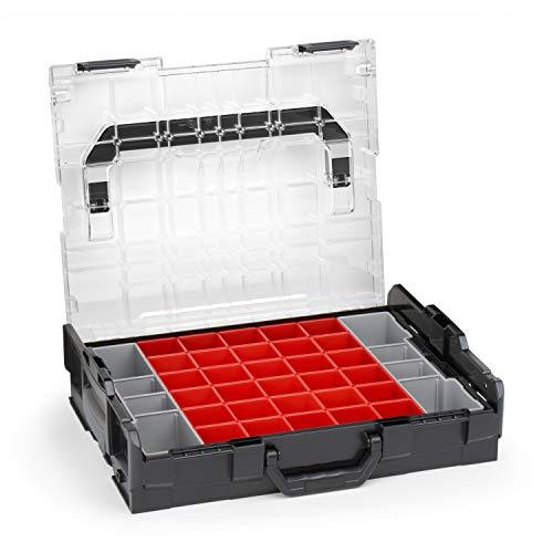 Bosch Sortimo L BOXX 102 - Caja organizadora para piezas pequeñas, con tapa transparente y juego de cajas de clasificación A3, caja de tornillos ideal para guardar piezas pequeñas