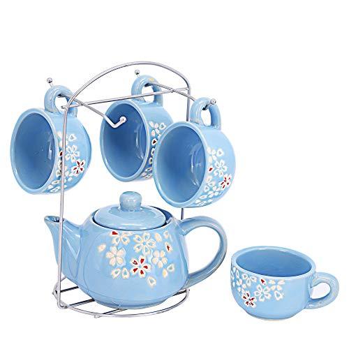 ufengke 6 Stück Pflaumenblüten Keramik Teeservice für Erwachsene,Kinder, Kinder Teeservice,Kleines Kaffee Teeservice mit Blumenmuster,Blau