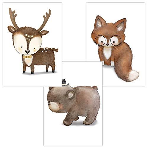 Wandbilder 3er Set für Babyzimmer Deko Poster | Kunstdruck DIN A4 | Dekoration Kinderzimmer Waldtiere (Hirsch Bär Fuchs Baby Tiere Junge)
