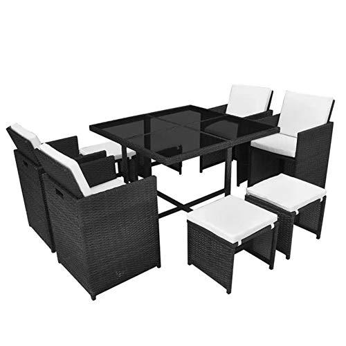 AYNEFY - Conjunto de muebles de jardín de ratán sintético con cojines, color negro