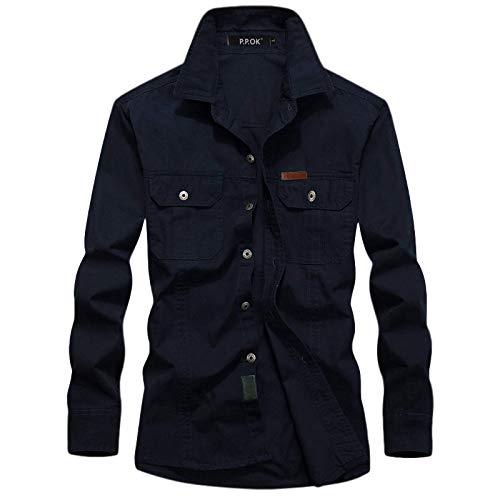 Camisa Cargo de Manga Larga para Hombre, Color sólido, cómoda Costura versátil, Ropa de Calle con Dos Bolsillos, Camisas Informales Regulares 4XL