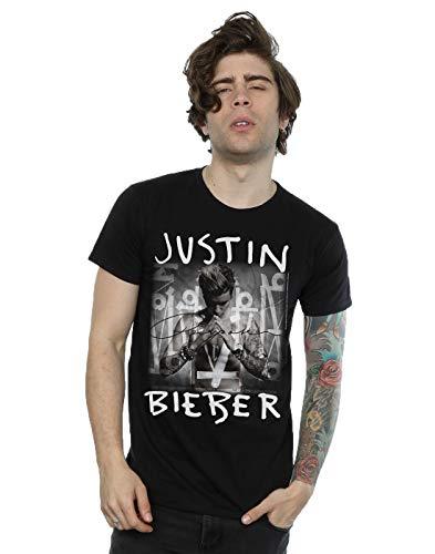Justin Bieber Hombre Purpose Album Cover Camiseta Large Negro