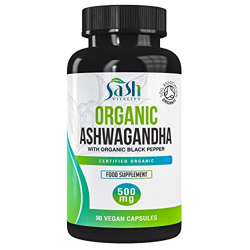 Organic Ashwaghanda 500mg with Black Pepper   90 Vegan Capsules   High Strength 500mg Ashwangandha   Ayurveda Herbal Supplement   Soil Association Organic & Vegan Certified   UK Made Sash Vitality