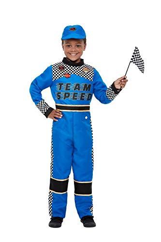 Luxuspiraten - Jungen Kinder Rennfahrer Formel 1 Fahrer Racing Car Driver Kostüm mit Jumpsuit Overall Einteiler, Kappe und Fahne, perfekt für Karneval, Fasching und Fastnacht, 104-116, Blau