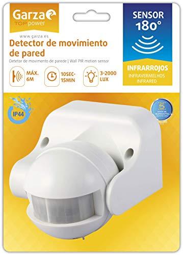 Garza Power - Detector de Movimiento Infrarrojo de Pared, Ángulo de Detección 180º, protección IP44 (exterior), Blanco