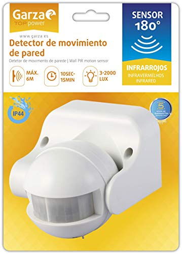 Garza Power - Detector de Movimiento Infrarrojo de Pared, Ángulo...