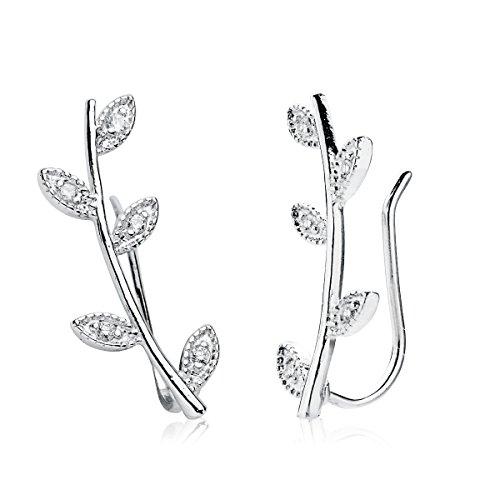 Iyé Biyé Jewels - Pendientes trepadores mujer ramas hojas plata de ley 925 cierre ajustable 20 mm