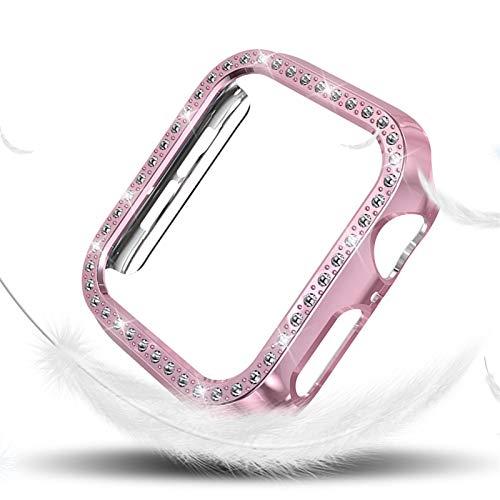 WSGGFA Funda de Diamantes para Mujeres para la Serie de Relojes de Apple 4 40mm 44mm para Cubierta Protectora de iWatch PC Estuche de Reloj Cáscara (Color : Pink, Dial Diameter : (Series 4) 40mm)