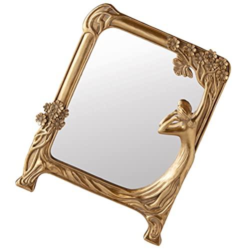 Minkissy Espejo de Maquillaje de Tocador Retro Espejo Cosmético de Escritorio Espejo de Maquillaje de Pie en Relieve Espejo de Cara Antiguo para Dormitorio Baño Encimera Dormitorio Dorado