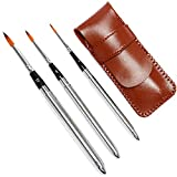 Travel Watercolor Brushes, Round Extra Long Synthetic Sable Pocket Paint Brushes with Protective Case Handle, Perfect for Watercolor Acrylics Gouache Ink 3pcs