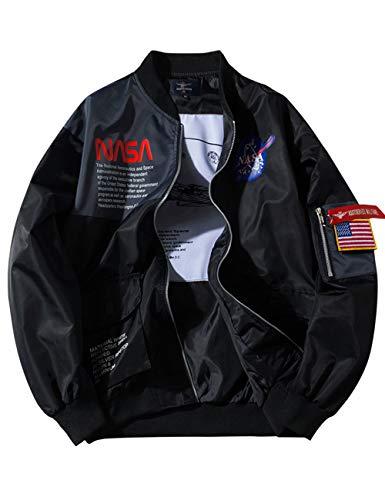 PowerTop Jaqueta masculina NASA corta-vento com zíper e bandeira dos EUA, 1, S