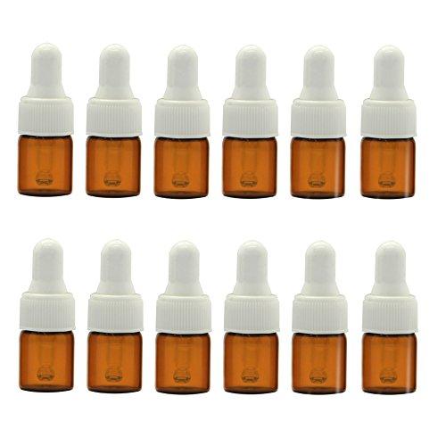 12 botellas de aceite esencial de cristal ámbar de 1 ml, 2 ml, 3 ml, contenedor de tarro y cuentagotas, de color blanco para maquillaje y muestra, contenedor para uso en aromaterapia, 2ml, 1