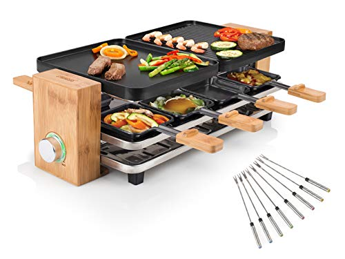 Elegante parrilla de mesa para raclette en marco de bambú con tenedores Teppan para 8 personas, 12000 W, antiadherente.