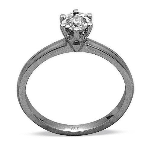 Aris Diamond - Dames Solitaire-verlovingsring, 585 witgoud, met 1 diamant van 0,12 ct