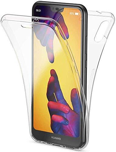 CaseNN Kompatibel mit Huawei P20 Lite Hülle 360 Grad Handyhülle Silikon PC Crystal Clear Full Body Slim Cover Transparent mit Displayschutz Vorne und Hinten Schutzhülle Durchsichtige