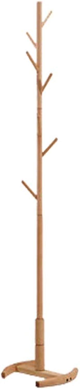 Angel's Home Simple Fashion Coat Rack Floor Solid Wood Clothes Rack Simple Beech Hat Coat Rack Living Room Bedroom Coat Stand