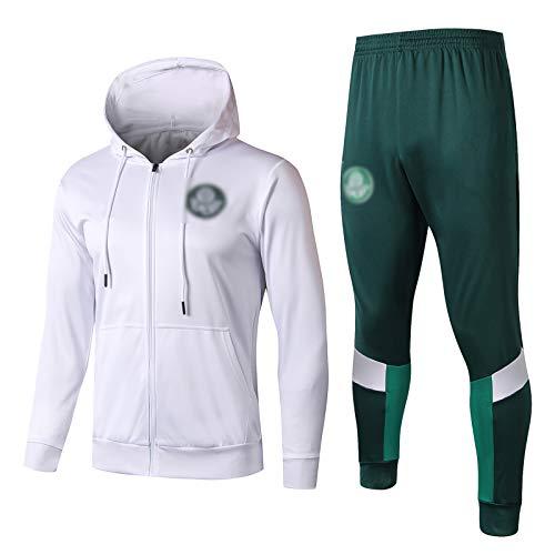 19-20 Palmeiras Traje de entrenamiento de fútbol de manga larga para cuatro estaciones transpirable cuello alto pre-partido entrenamiento calentamiento (chaqueta + pantalones) (S-XXL)