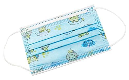 TBOC Nicht wiederverwendbare Hygienemaske für Kinder - [Packung 30 Einheiten] 3 Schichten [Blau Tea]