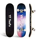 Skateboards 31 inch Pro Skateboard Complete Skateboard for Beginners Kids Teens Adults,7 Layer Canadian Maple Double Kick Concave Standard Pro Tricks...