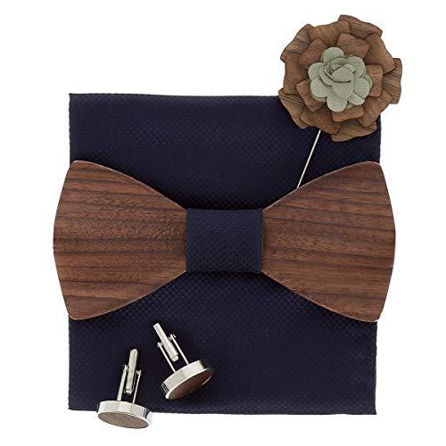 SHIPITNOW Papillon e Gemelli in Legno scuro - Fazzoletto da Taschino Blu marino - Venduto in Confezione regalo in Legno - Papillon Legno Uomo