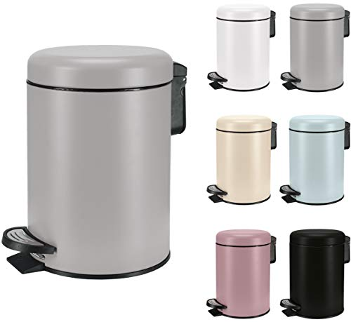 KW Soft Shade Small Round Pedal Bin 3ltr (Grey, 3 Ltr)