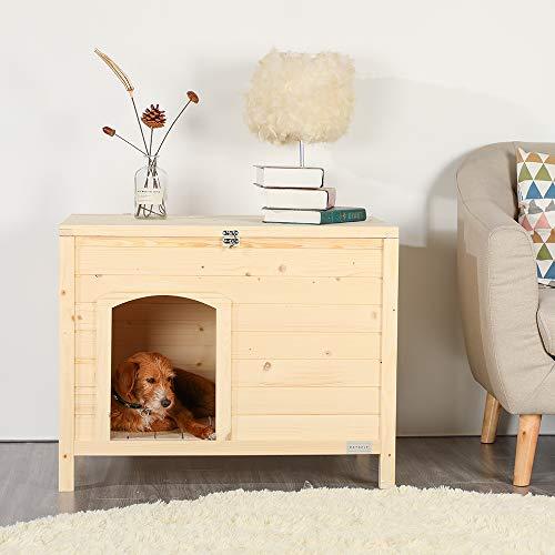 Petsfit fertig zusammengebaute Indoor Hundehütte für kleine Hunde 102cm x 53cm x 61cm Aufbau in einem Schritt