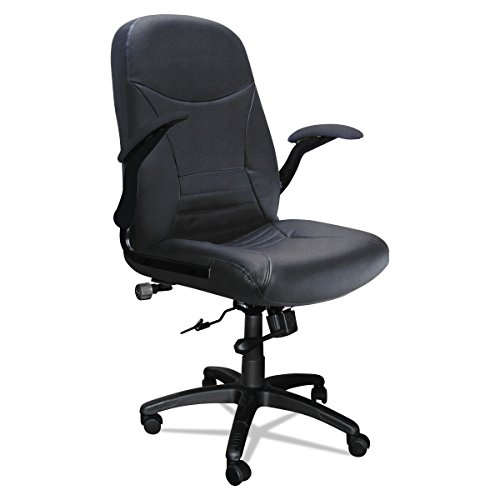Mayline Comfort Series Big and Tall 500 lb. Task Chair with Pivot Arms, Black Leather