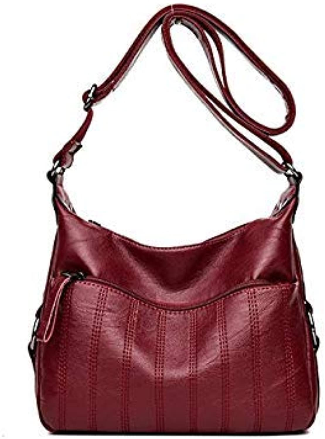 Bloomerang Hot Women Leather Handbags Top-Handle Bags for Women Famous Brands Female Casual Shoulder Bag Tote for Girls SAC A Main color RED Wine