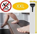 cocofy Anti-Rutsch Treppe | 18x Streifen XXL (75x12 cm) transparent für Treppenstufen innen | Starker Halt dank Spezial-Textur | sockenfreundlich | incl. Montageroller | [2020 Einführungsangebot]