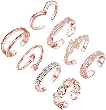 Ezclassy-8PCS Adjustable Toe Rings for Open Women Summer Rare Beach T Special sale item