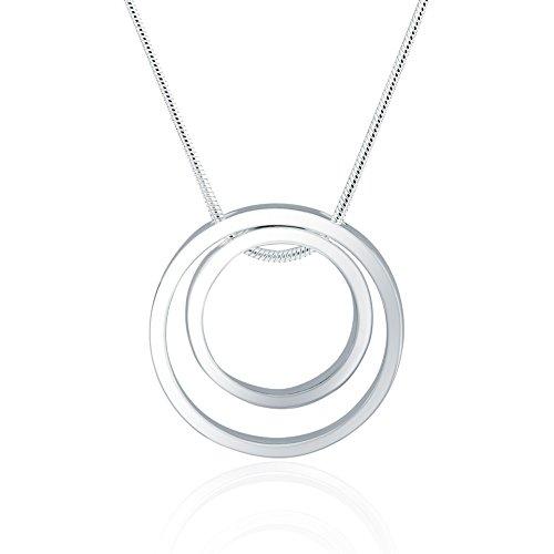 Elegance Parisienne Modische Halskette Kreis Ring Anhänger Silber 925 plattiert Für Frauen Damen Kinder Mädchen Glitzer Geschenk