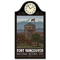 Fort Vancouver National Historic Site Bastion Vancouver Washington Wood Wall Clock for Home & Office from Original Travel Artwork by Artist Paul A. Lanquist 12 x 18 with 5 Clock Face.