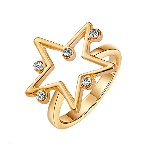 minjiSF Anillo de estrella de diamante para mujer, con personalidad, exquisito, alianzas de plata, alianzas de boda, anillos de compromiso, anillos de boda, anillos de diamante, (oro)