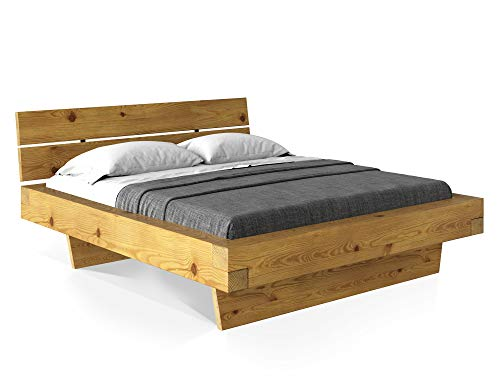 moebel-eins CURBY Balkenbett mit Kopfteil, Wangenfuß, Material Massivholz, 140 x 200 cm, Natur