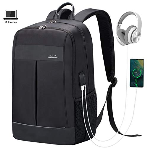 Overmont Mochila Portátil para Laptop hasta 15.6 Pulgadas Bolsa Antirrobo Impermeable Hombre Multiusos Daypacks con Puerto de Carga USB/Auriculares para Viaje,Trabajo,Estudiante