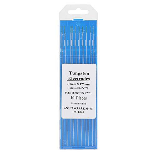 Electrodos de tungsteno puro, equipo de soldadura Tig, punta de electrodos de tungsteno puro verde WP de 10 piezas con buena conductividad eléctrica para soldadura Tig de CA(1.0mm*175mm)