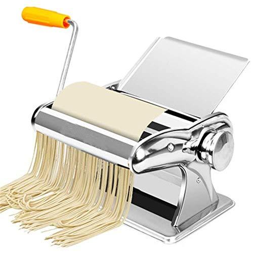 YUXIwang Máquina de pasta Máquina de pasta de acero inoxidable máquina del fabricante de pasta con 3 cuchillas 8 Ajustes Grosor del Fresh espaguetis lasaña Dough Roller cortador de fideos de pasta que